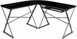 3Pcs Computer PC Desk Tempered Glass Table Corner Home Offic