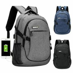 Anti-theft Backpack Men Notebook Laptop USB Cable Business C