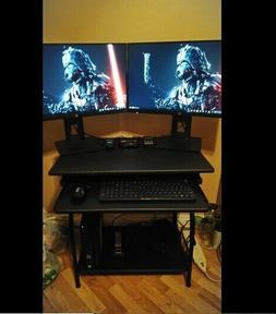 Black Steel PC Desk For Small Space Computer Workstation Wit