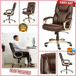 Brown Leather Executive Office Desk Chair High Back Swivel P
