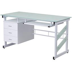Flash Furniture White Computer Desk with Three Drawer Pedest
