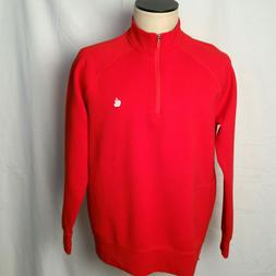 APPLE Computer Men's Pullover Sweatshirt Red 1/4 Zip w' Embr