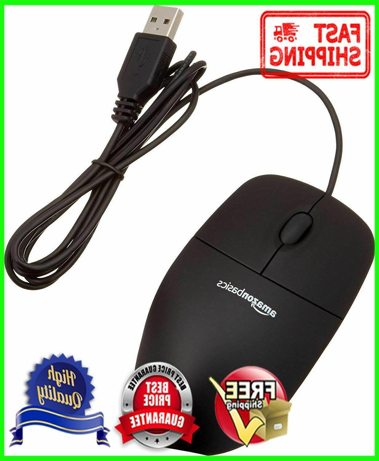 3 button usb wired computer mouse black