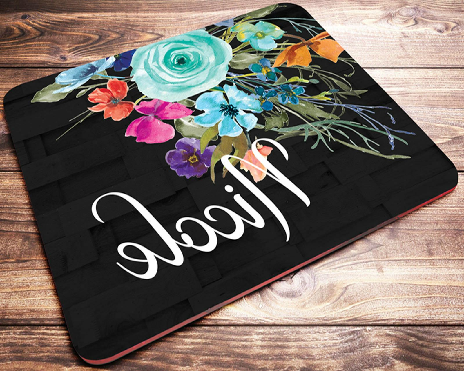 Custom Name Personalized Mouse Pad Turquoise Flowers Compute