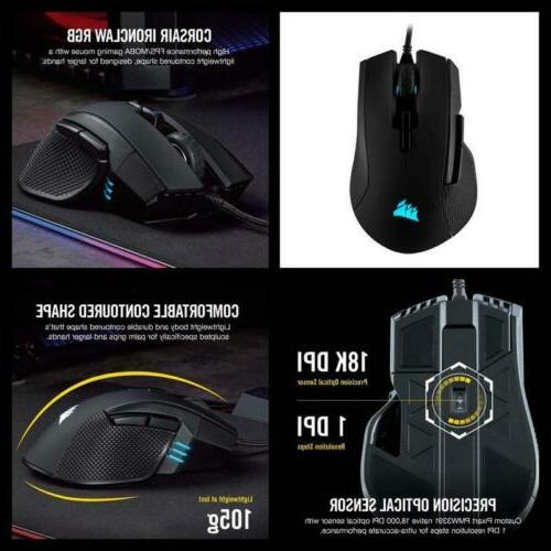 Corsair RGB PC Computer Gaming Mouse 18000 DPI Optical Senso