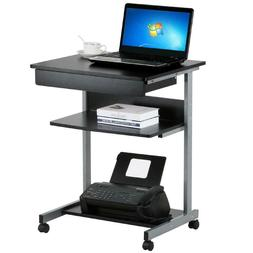 Laptop Computer Cart Desk With Drawers And Printer Shelf Whe