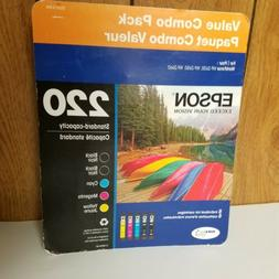 NEW Combo Value 5 Pack Genuine Epson 220 Tricolor Black Ink
