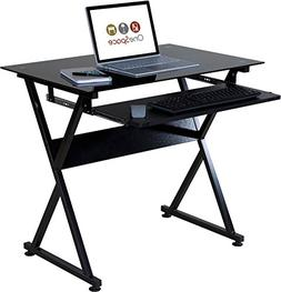 Onespace  Ultramodern Glass Computer Desk With Pull-Out Keyb