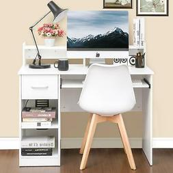 Wood Writing Desk Home Office Computer Desk with Drawers and