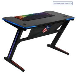 Kinsal Z-Shaped Gaming Desk Computer Desk Table with Automat